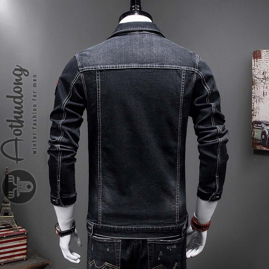 phối đồ với áo khoác jean đen nam