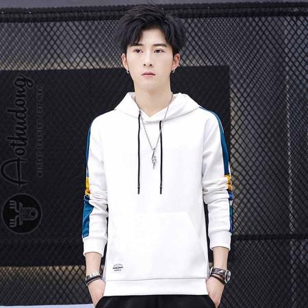 Áo thu đông hoodie nam trắng