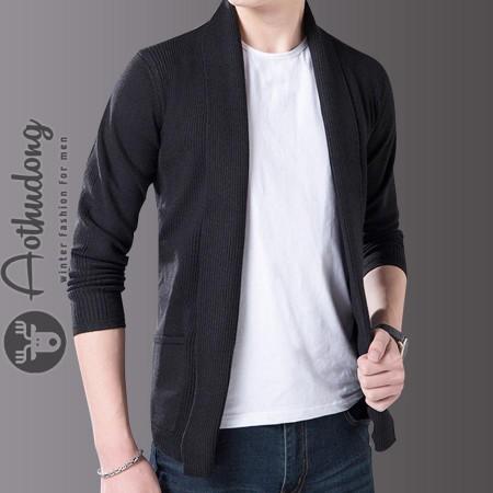 Áo khoác len nam cardigan đen