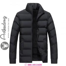 Áo khoác phao nam đen lót lông