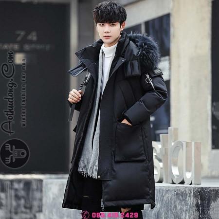 Áo phao lông vũ đại hàn đen đẹp